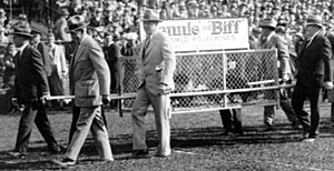 Biff, the Michigan Wolverine - Biff and Bennie in cage at Michigan Stadium, circa 1927