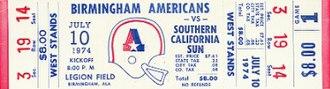 Birmingham Americans - Image: Birmingham Americans game ticket 01