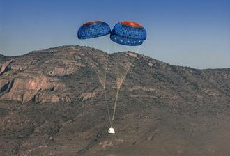 Blue Origin - New Shepard landing with parachutes on April 29, 2015.