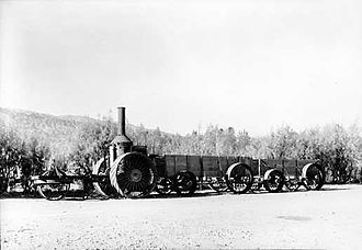 Borax - Old steam tractor and borax wagons, Death Valley National Park