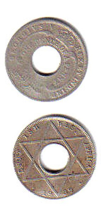 British West African pound - One-tenth penny coins from British West Africa, dated 1936 and 1939.