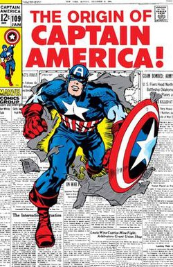 0f862cf93 Captain America bursting through a page of newspaper
