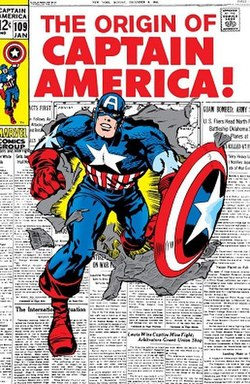 Captain America bursting through a page of newspaper