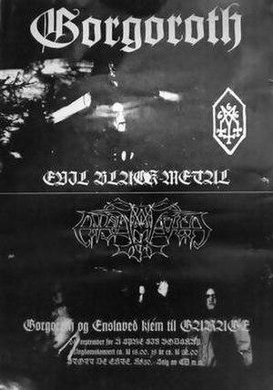 Gorgoroth - Poster for a Gorgoroth concert in Bergen, Norway (24 September 1994) alongside Enslaved.