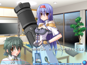 Furifuri - A conversation in Furifuri depicting the protagonist Haruaki talking to Zyun.