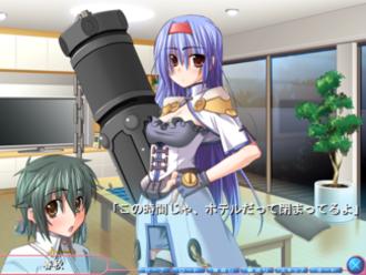 Furifuri - A conversation in Furifuri depicting the protagonist Haruaki talking to Zyun.