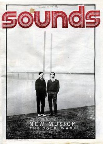 """Cold wave (music) - The front cover of Sounds with the caption """"New musick:  The cold wave"""", issue 26 November 1977: it is a picture of Ralf Hütter and Florian Schneider of Kraftwerk."""