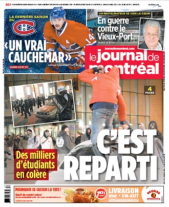 Le Journal de Montréal - The April 26, 2012, front page of Le Journal de Montréal