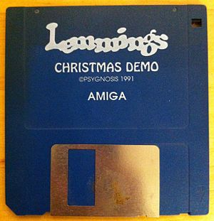 Lemmings (video game) - A floppy disc containing Christmas Lemmings (1991) for the Amiga.