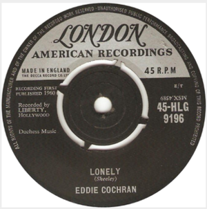 Lonely (Sharon Sheeley song) - Image: Lonely Eddie Cochran London Records 45