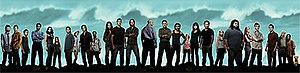 Lost (TV series) - From left to right: Faraday, Boone, Miles, Michael, Ana Lucia, Charlotte, Frank, Shannon, Desmond, Eko, Kate, Jack, Sawyer, Locke, Ben, Sayid, Libby, Sun, Jin, Claire, Hurley, Juliet, Charlie, Richard, Bernard, Rose, and Vincent