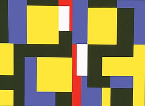 """Mary Henry (artist) - Mary Henry, """"Both Sides Now"""", 1989, acrylic on canvas, 72 x 96 inches. Like most of Henry's work, the style is geometric abstraction; it is one of several works whose titles are popular culture references, in this case to a Joni Mitchell song."""