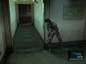 Metal Gear Solid 2: Sons of Liberty - Solid Snake takes cover and peeks around a corner in the Tanker chapter