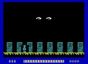 Moonlight Madness (video game) - The boy scout (bottom left) makes his way through the maze corridor