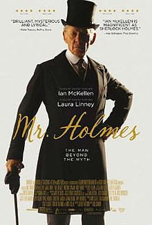 . In this movie poster, Ian McKellen, playing a 93-year-old Sherlock Holmes, stands posed for the camera, left hand on hip, right hand braced on a walking stick. His clothing, although neat and elegant, is quite out of fashion. Though the year is 1947, he wears a late Edwardian suit, top hat, and a shirt with a stiff rounded collar.