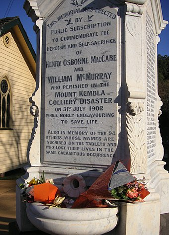 Memorial for the workers who lost their lives at Mount Kembla, 1902 MtKembla coalmine disaster memorial.JPG