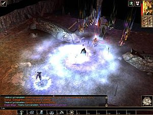 Neverwinter Nights - Final showdown with Queen Morag. The encounter is complete with dynamic graphical effects. In the lower left corner, the player console displays Dungeons & Dragons game mechanics behind the actions.