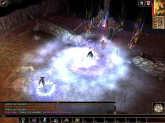 Neverwinter Nights - A large end-game battle. The encounter is complete with dynamic graphical effects. In the lower left corner, the player console displays Dungeons & Dragons game mechanics behind the actions.