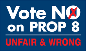"Official ""Vote NO on Prop 8"" logo"