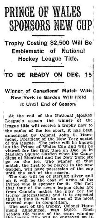 Prince of Wales Trophy - New York Times announcement