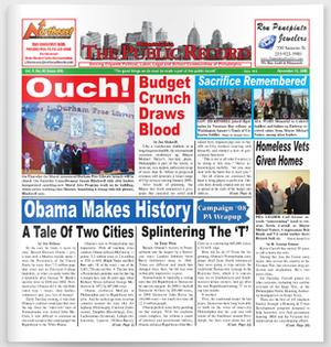 The Public Record (newspaper) - Image: Public Record 2008 11 11 frontpage