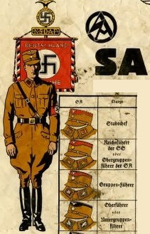 Untergruppenführer - Rank insignia poster of the SA and SS showing the position of Untergruppenführer