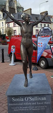 The statue to Sonia O'Sullivan in her hometown of Cobh Ireland.
