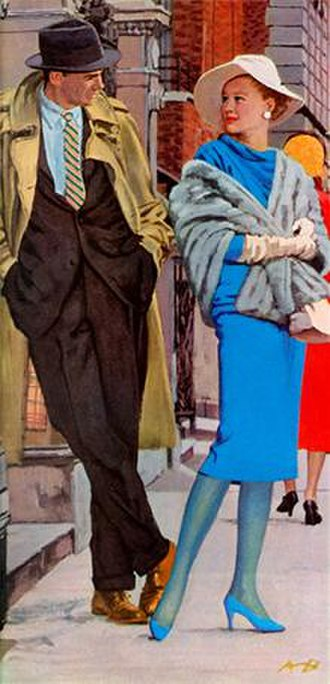 """Archie Goodwin (character) - Archie Goodwin meets Flora Gallant in part one of Rex Stout's """"Frame-Up for Murder"""" illustrated by Austin Briggs for The Saturday Evening Post (June 21, 1958)"""
