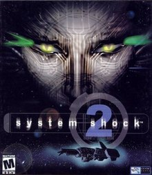 "Cover art of ""System Shock 2"", depicting the Von Braun and main antagonist SHODAN."