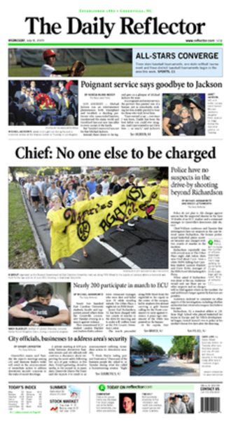 "The Daily Reflector - The 2009-07-08 front page of  ""The Daily Reflector"""