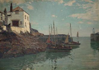 Claus Bergen - The Harbor of Polperro, Cornwall. C. Bergen, ca. 1907