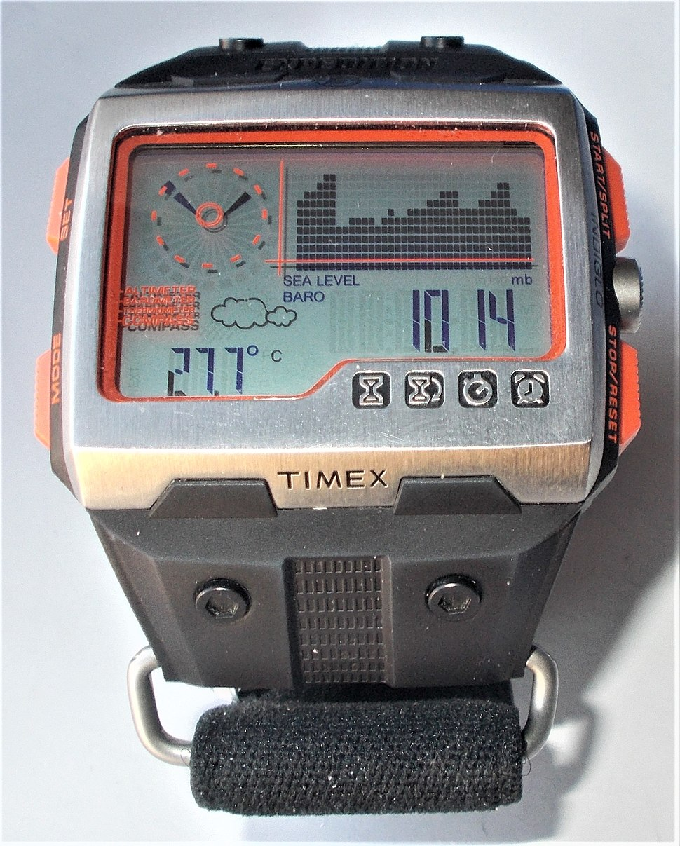 Timex Expedition WS4 Barometric chart peaks cloudy close up