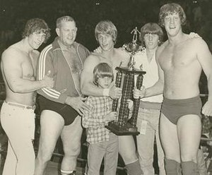Von Erich family - The Von Erich family (from left to right): Kerry, Fritz, Kevin, Chris (front), Mike and David.