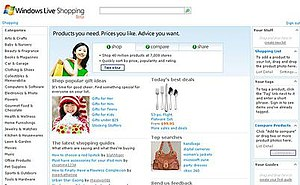 Bing Shopping - A screenshot of Windows Live Shopping homepage