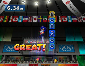 Mario & Sonic at the Olympic Games - The player twists the Wii Remote and presses various buttons, as instructed, to perform tricks in the trampolining event.