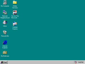 Screenshot of Windows 95, the first version of Windows in the 9x series