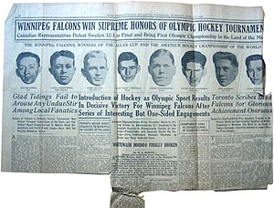 Winnipeg Falcons - Winnipeg Free Press, April 27th, 1920 on the Olympic win.