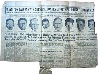 Winnipeg Falcons - Winnipeg Free Press, April 27th, 1920 on the Olympic win.