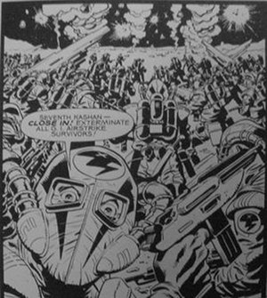 Rogue Trooper - Nort troopers of the Kashan Legion, from a Rogue Trooper comic book