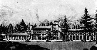 Ahwahnee Hotel - Underwood's concept art shows a megalithic structure much grander in scale than what was finally built
