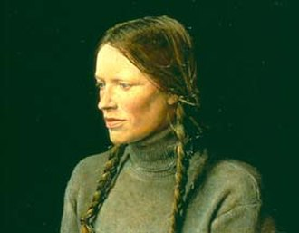 Andrew Wyeth - Braids (1979), portrait of Helga Testorf