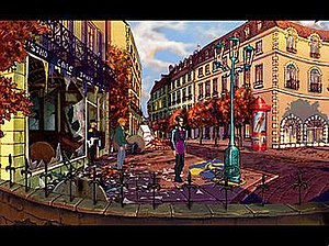 Broken Sword: The Shadow of the Templars - Left to right: Sergeant Moue, George Stobbart, and Nicole Collard standing in front of Cafe De La Chandelle Verte in Paris