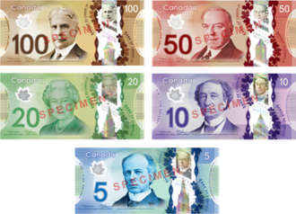 Banknotes of the Canadian dollar - Obverse of the 2011 ''Frontier'' Series depicting portraits of Wilfrid Laurier ($5), John A. Macdonald ($10), Queen Elizabeth II ($20), William Lyon Mackenzie King ($50), and Robert Borden ($100).