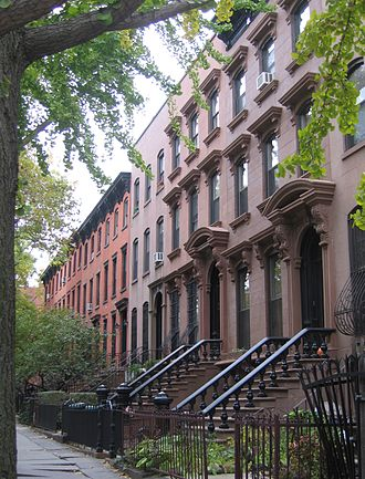 Prospect Heights, Brooklyn - Row houses on Carlton Avenue in Prospect Heights