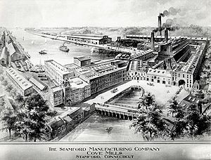 Cove Island Park - Cove Mills factory of the Stamford Manufacturing Company. The factory burned down on February 19, 1919, in a spectacular fire on the site of Cove Island Park.