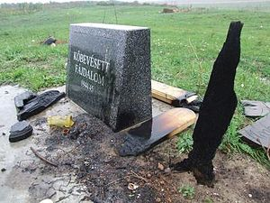 Communist purges in Serbia in 1944–45 - The Hungarian victims' monument in Čurug, shown here damaged.