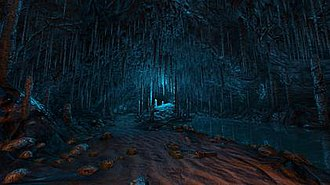 Dear Esther - A screenshot showing the cave in Dear Esther. The game garnered praise from critics for its graphical detail.