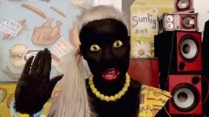 Fatty Boom Boom - Yo-Landi with her body painted black.