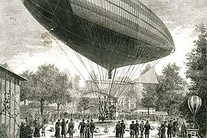 Albert Tissandier - Drawing by E. A. Tilly of an airship powered by an electric motor developed by Albert and Gaston Tissandier, 1883