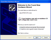 Found New Hardware Wizard